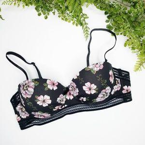 Nanette Lepore floral push up bra black 36C
